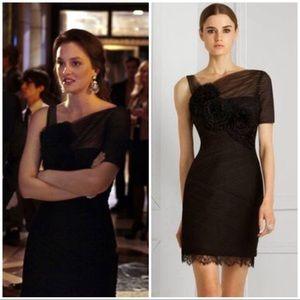 "BCBG MaxAzria ""Rosette"" Black Dress 12"